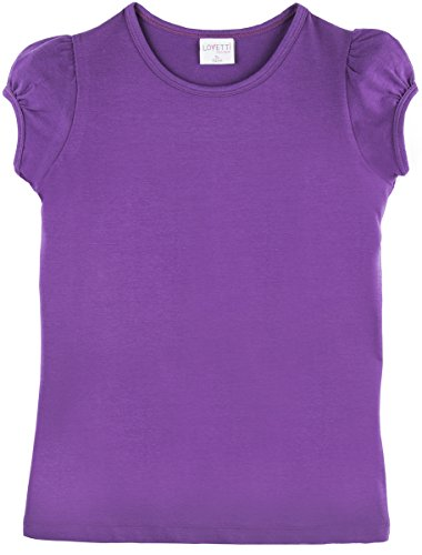 Ruffle Neck T-shirt - Lovetti Girls' Basic Short Puff Sleeve Round Neck T-Shirt 9 Purple