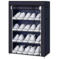 Aysis Multipurpose Portable Folding Shoes Rack 4 Tiers Multi-Purpose Shoe Storage Organizer Cabinet Tower with Iron and Nonwoven Fabric with Zippered Dustproof Cover (Navy Blue)