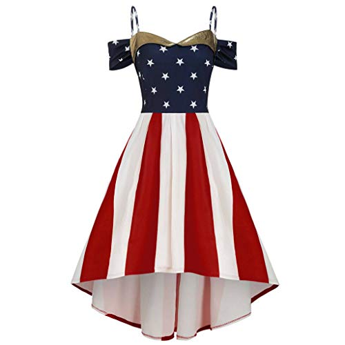 VEZAD July Fourth Dresses Women American Flag Printed Off Shoulder Cami Plus Size Dress White -