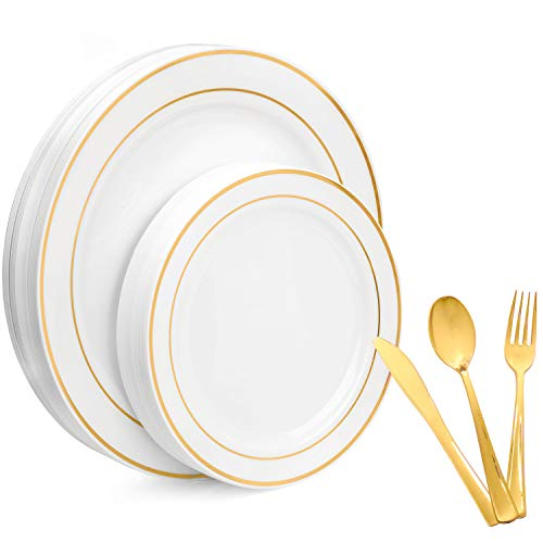 125 Piece Plastic Plates & Silverware Set - Bulk Gold Rim Dinner & Salad Disposable Plates, Spoons, Forks & Knives for Wedding or Party