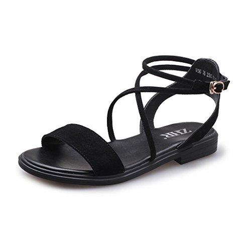 KaiGangHome Mot boucle sangle sandales chaussures plates romaines chaussures chaussures rétro chaussures femmes chaussures (Color : Black, Size : 39) Black