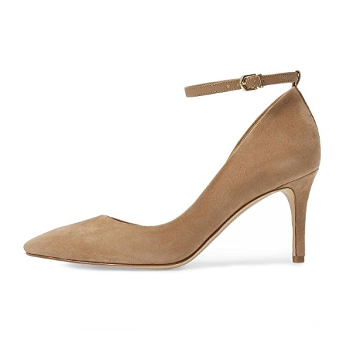 buy cheap new styles XYD Women Pointed Toe D'Orsay Mid Heel Pumps Ankle Strap Buckled Wedding Party Dress Shoes Camel discount high quality clearance big sale MuPe25jjB