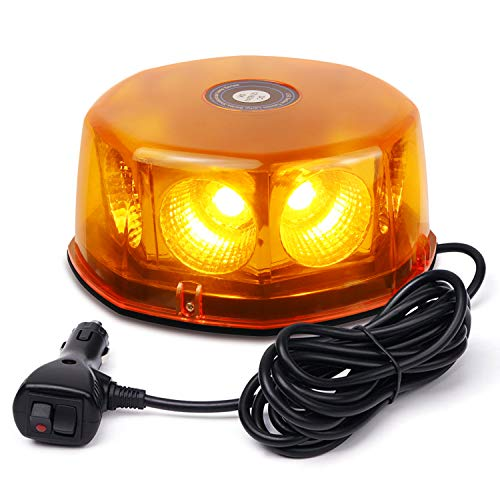 (WoneNice 48 Watts Amber COB LED Roof Top Emergency Hazard Warning LED Mini Strobe Beacon Lights Bar for Snow Plow Police Firefighters Trucks Vehicles w/Magnetic Base,12-24V)