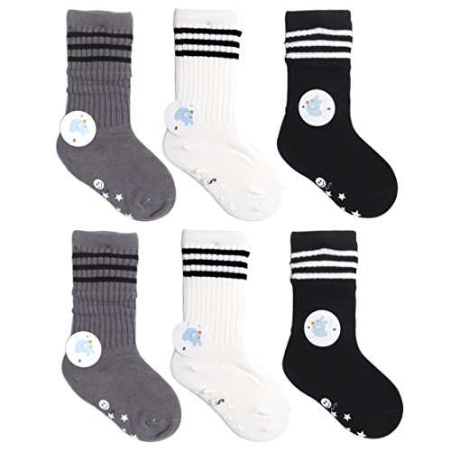VWU 6 Pack Little Girls Boys Tube Socks Stripe Knee High Socks 1-10 Years