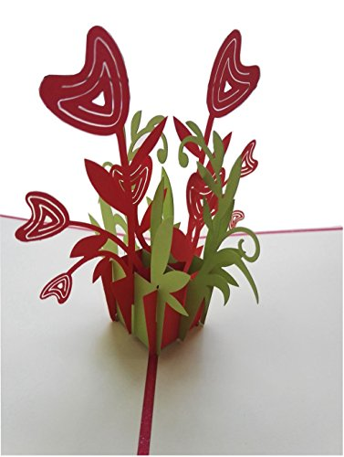 IShareCards Handmade 3D Pop Up Greeting Cards for Every Occasion (Heart Flower (3d Card Heart)