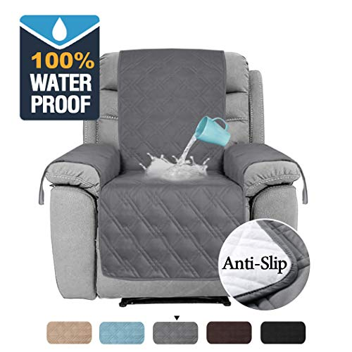 H.VERSAILTEX 100% Waterproof Recliner Cover for Living Room Recliner Covers for Dogs Quilted Furniture Protector for Leather Sofa, Slip Resistant Recliner Slipcover for Pets (Recliner Medium: Grey) (Room Lightweight Living Furniture)