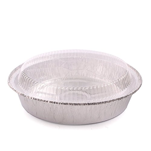 Jetfoil 9 Inch Round Disposable Aluminum Foil Pans With Clear Plastic Lids, Pack Of 40 Sets by Party Bargains (Image #1)