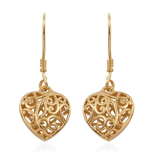 14K Yellow Gold 925 Sterling Silver Openwork Dangle Drop Heart Valentines Earrings Gift Jewelry for Women