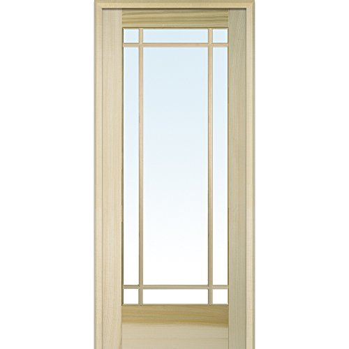 National Door Company ZZ09506R Unfinished Poplar Wood 9 Lite True Divided Clear Glass, Right Hand Prehung Interior Door, 36