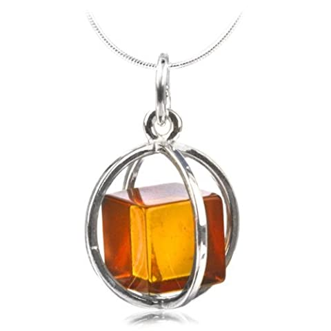 Honey Amber Cube Millennium Collection Sterling Silver Spherical Pendant Snake Chain 14 (Unique Amber Pendant For Women)