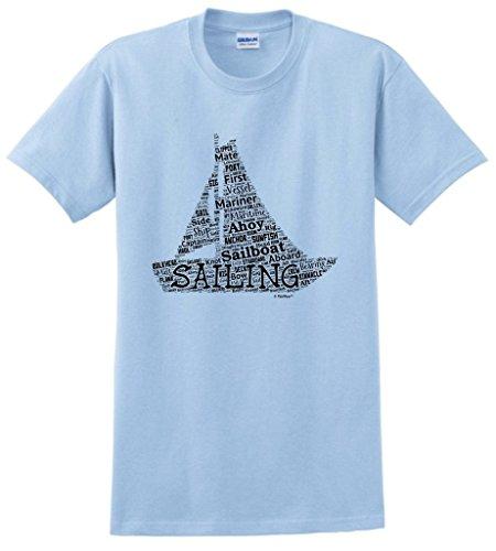 [Sailing Gift Sailing Word Collage Sailing Fan Gift T-Shirt Medium LtBlu] (Authentic Pirate Coats)