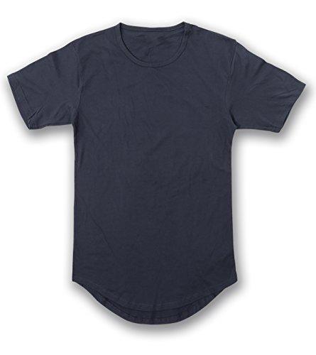 JD Apparel Men's Hipster Longline Drop Cut T-Shirts M Navy ()