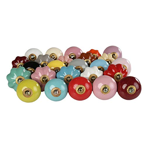 RAJRANG Vintage Handmade Colourful Plain Ceramic Door Knobs and Pulls for Drawer Kitchen Cabinet Cupboard Home Interior Decor Hardware   Pack of 25