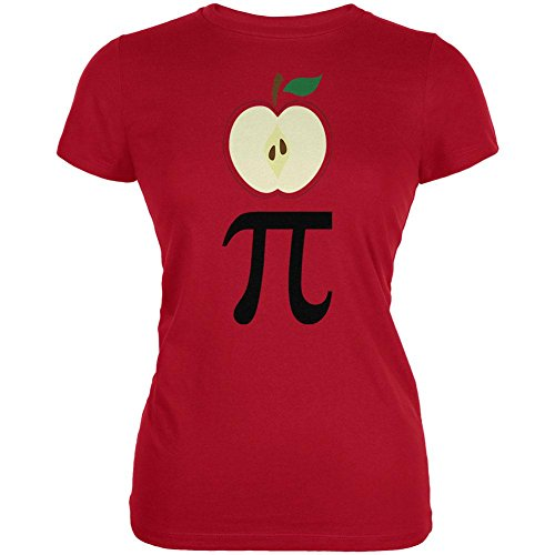 Halloween Math Pi Costume Apple Day Juniors Soft T Shirt Red MD - Pi Day Costumes