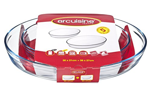 Arcuisine Borosilicate Glass Oval Roaster 2pc Set (11.8 x 8.3-Inch, 15.4 x 10.6-Inch)