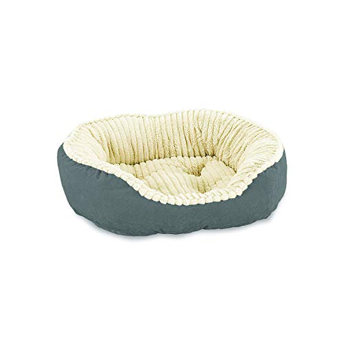 - Sleep Zone Faux Suede Carved Plush Lounger, Cuddler, Napper Dog Bed - Fabric Bottom - 26X21 Inches / Grey / Attractive, Durable, Comfortable, Washable. By Ethical Pets