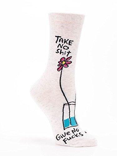 Blue Q Women's Novelty Crew Socks '' Take No Shit Give No Fucks'' ( Women's Shoe Size 5-10 )