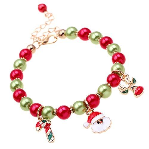 BYONDEVER Christmas Link Bracelets Snowman Xmas Moose Charm Jewelry for Women Girls(Bead)