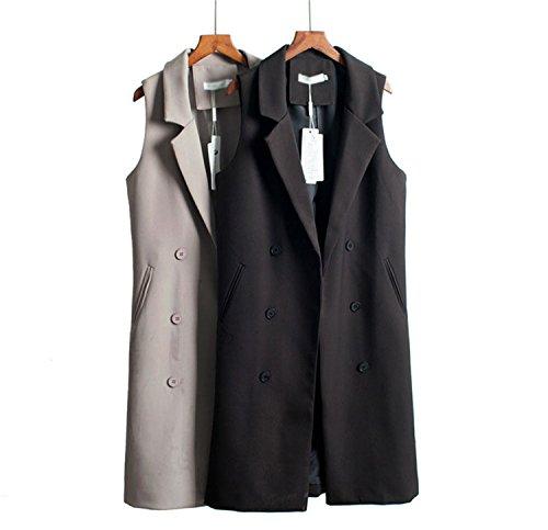 Caseminsto Black Long Vest Women 2017 Fashion Elegant Office Suits Grey M by Caseminsto (Image #2)