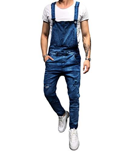 (lisenraIn Men's Denim Bib Overalls Fashion Ripped Jeans Slim Jumpsuit with Pockets (Dark Blue, S))