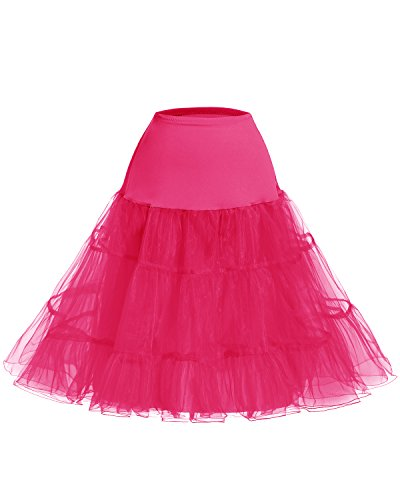 Swing 50 Vintage effet Rockabilly bouffant Bridesmay Petticoat Fuchsia Jupon annes Rtro xqXUU76