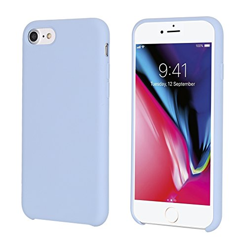 e 7 Case, Casegory iPhone 7/8 Cover with Liquid Silicone Gel Rubber and Soft Microfiber Cloth Case for Apple Mobile Phone iPhone 8 and iPhone 7 (4.7inch)(Light Blue) (Light Blue Case)