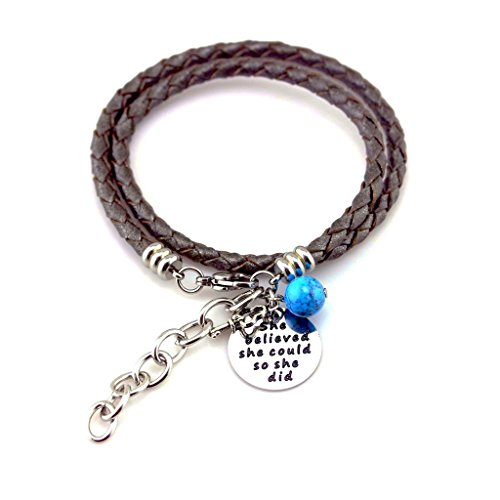 Mother Daughter Bracelet, Relationship Bracelet, Gifts for Mom, Daughter Gifts, Leather Bracelet with Stainless Steel Charm She Believed She Could, Inspirational Bracelets by Balla