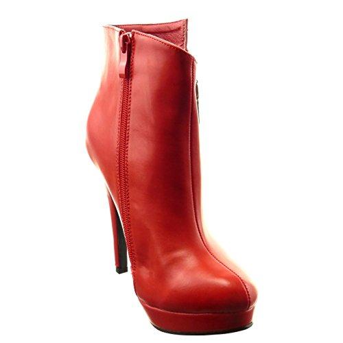 Botas Sapatos Moda Tornozelo Zipper Das Sapatos Da Mulheres Plataforma Sopily Vermelho dXEqzwtxO