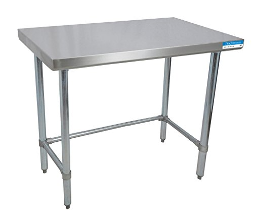 BK Resources VTTOB-1824 18 Gauge Stainless Steel Flat Top Table with Open Base and Galvanized Legs, 24