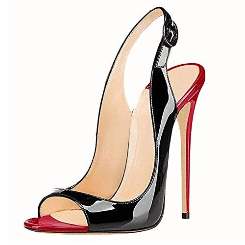 Elashe Kvinner red Peep Elegante Toe Elashe Stiletto 12cm High Elegante Hæler Stiletto Svart Black rød Sandals Toe 12cm Women Pumps Pumper Heels Høye Slingback Sandaler Slingback Peep rnXxrw