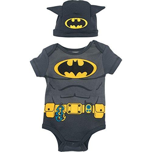 (Baby Boys' Batman Bodysuit and Hat Set, Grey and Yellow (0-3)