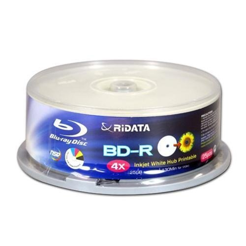 Ridata BDR-254-RDIWN-CB25 4 X 25 GB Inkjet White Hub-Printable, 25-Piece Cake Box of Discs by Ridata