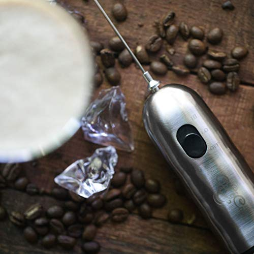 Handheld Milk Frother and Drink Mixer: 2-Speed, Battery Operated Electric Stainless Steel Foam Blender Accessories - Hand Held Foamer Whisk Wand for Making Coffee, Matcha, Latte, Cappuccino and More by Cafe Casa (Image #5)
