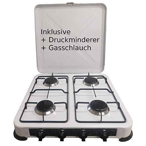 Camping Gaskocher Hochwertiger 4 flammiger Kocher Campingkocher / Lieferung inklusive 80cm Anschlussschlauch und…