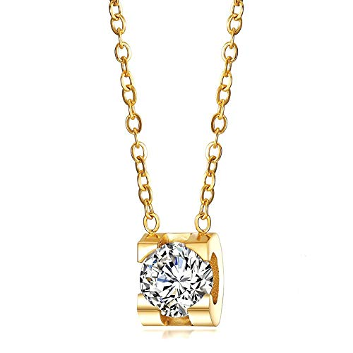 - JINBAOYING Cubic Zirconia Pendant Necklace 18K Gold Plated Stainless Steel Chain Diamond Crystal Necklace for Women, 18