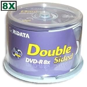 Ridata 9.4 GB 8X Double-Sided DVD-R's 50-Pak Cakebox