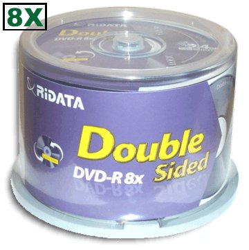 Ridata 9.4 GB 8X Double-Sided DVD-R's 50-Pak Cakebox by Ridata