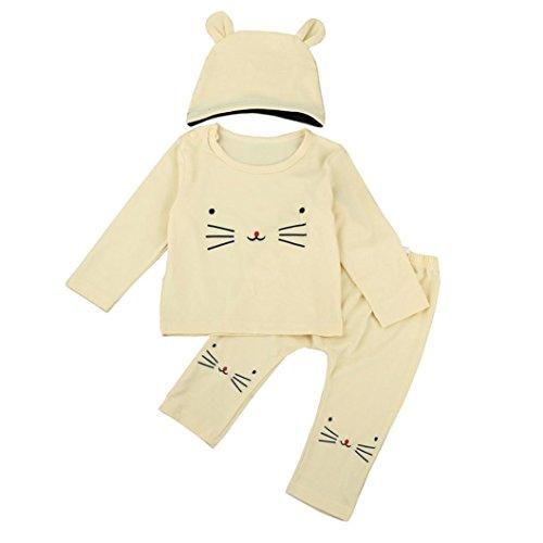 Mandystore 1 Set Newborn Kids Baby Girl Boy Outfits Clothes Cartoon T-Shirt Tops+Pants+Hat (6-12 Months, Beige) -