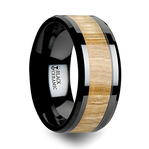 (Thorsten Biltmore Black Ceramic Ring with Polished Beveled Edge Wedding Band and Genuine Ash Wood Inlay 10mm Wide with Custom Inside Engraved Personalized from Roy Rose)