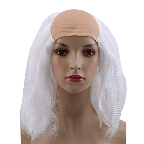MOONQING Wig Halloween Carnival Bald Hair for Masquerade Costume Party Funny Cosplay Prop,Grayish White]()