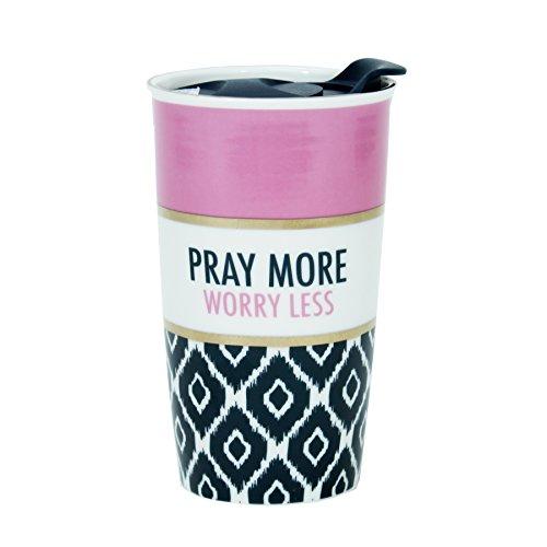 Pray More Worry Less Ikat and Pink 13 Oz. Ceramic Gold Tones Tumbler Mug with Lid ()