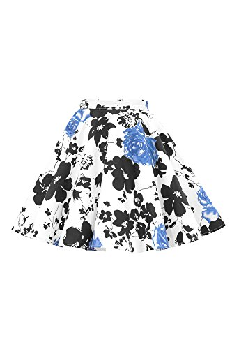 BlackButterfly Kids Vintage 50's Full Circle Girls Swing Skirt (Serenity - Blue, 11-12 yrs)