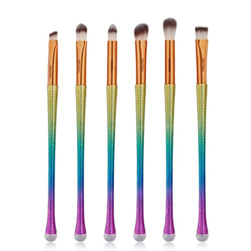 Ecurso 6Pc Rose Gold Mermaid Foundation Eyeshadow Contour Eye Lip Makeup Brushes ()