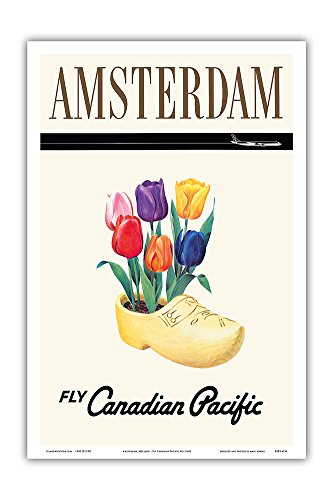 (Amsterdam, Holland - Fly Canadian Pacific Air Lines - Dutch Tulips in a Wooden Clog - Vintage Airline Travel Poster - Master Art Print - 12in x 18in)