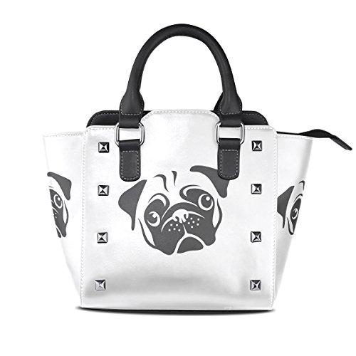 COOSUN Damas amasado Perro Negro y negro PU cuero Bolsa de hombro asa superior del totalizador del bolso del bolso de Crossbody Medio Multicolor