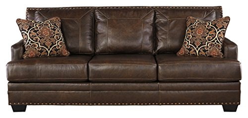 Ashley Furniture Signature Design – Corvan Contemporary Faux Leather Queen Size Sleeper Sofa – Antique Review