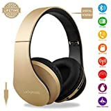 Wireless Bluetooth Headphone Over Ear, Headphones with Mic Noise Cancelling FM Radio Headsets