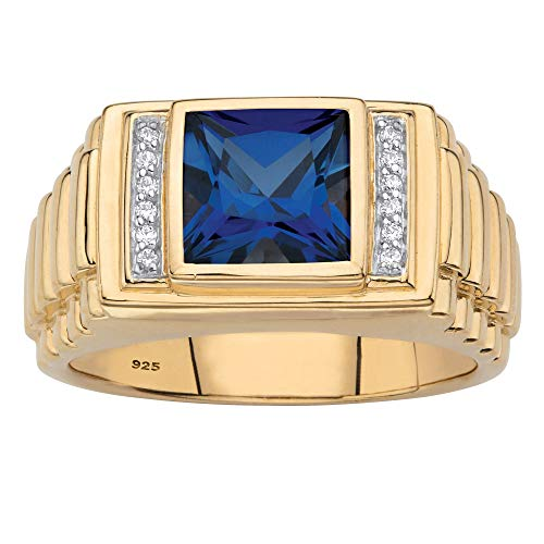 Men's 18K Gold over Sterling Silver Simulated Blue Sapphire and Diamond Accent Ring Size 11