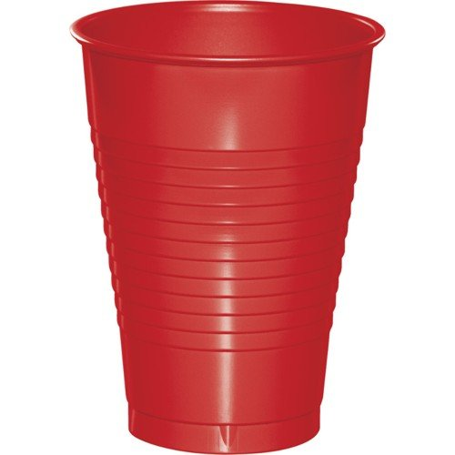 Touch Of Color Plastic Cups, 16 Oz, Classic Red, Sold By The Case: 20 per Pkg, 12 per Case, Total Quantity: 240