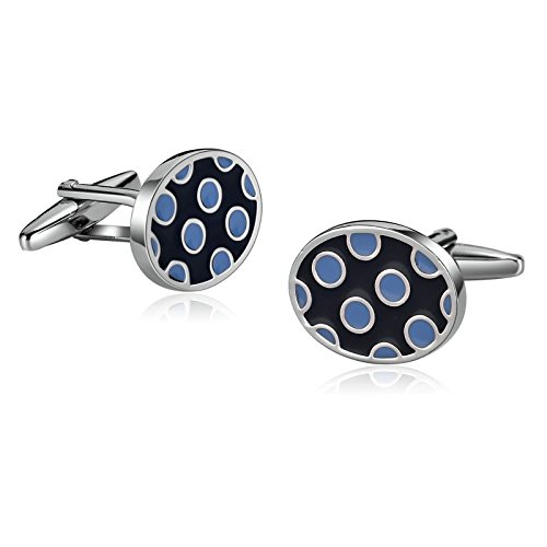 Epinki Stainless Steel Unique Business Wedding Cufflinks for Mens Oval Round Dots Epoxy Blue ()